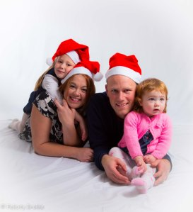 Image of family with christmas hats